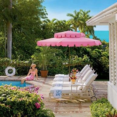 Meg Braff Costal Living chic pink pool umbrella